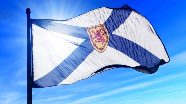 a flag with a blue umbrella