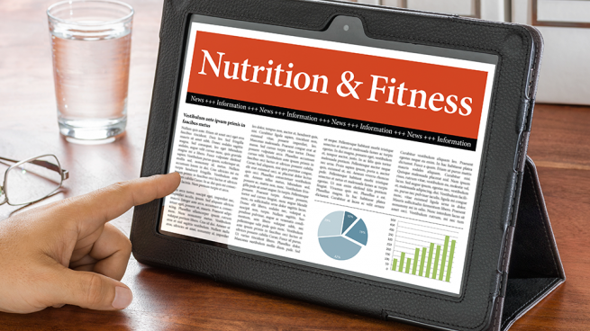 tablet computer showing nutrition news article